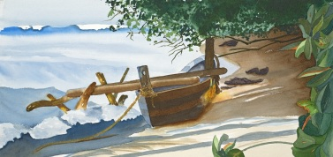"""""""OUTRIGGER""""  Original Watercolor by Emilee Reed"""